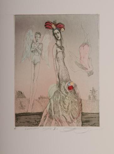 Katarína VAVROVÁ, Akademická maliarka - Unavený anjel II (2019), Technika: kolorovaný lept, Rozmery: 19,5x15