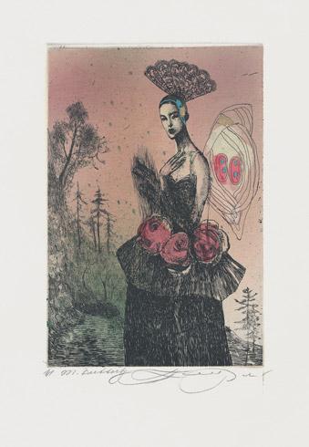 Katarína VAVROVÁ, Akademická maliarka - Madam Butterfly (2019), Technika: kolorovaný lept, Rozmery: 14,5x9,5