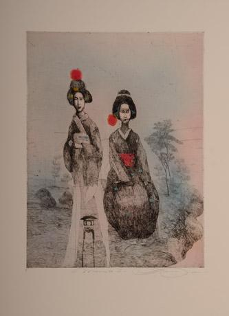 Katarína VAVROVÁ, Akademická maliarka - Mamiko II (2019), Technika: kolorovaný lept, Rozmery: 40x30
