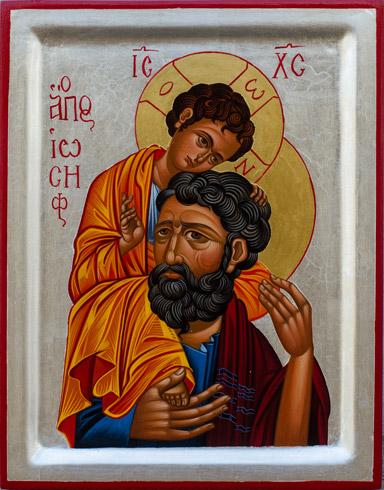 Ikony  Ivan PACALAJ - Sv. Jozef s Kristom (2019), Technika: tempera na dreve, Rozmery: 30x23