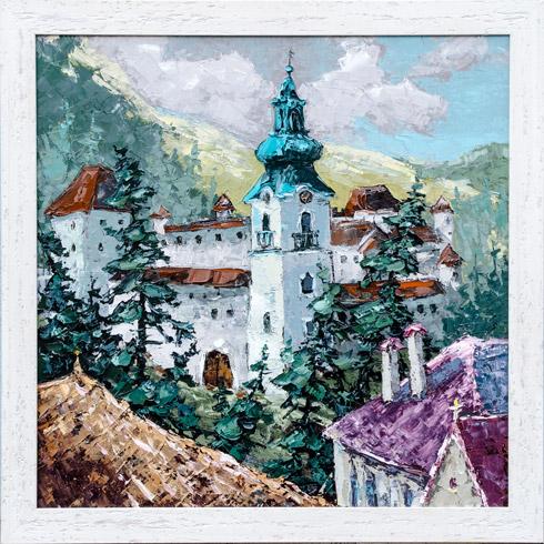 Rudolf RYPÁK - Starý zámok v Banskej Štiavnici (2019), Technika: olejomaľba, Rozmery: 60x60