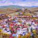 Autor: Zuzana LUKÁČOVÁ, Názov diela: Kalvária II, Technika: akryl, Motív: krajina, architektúra, Rozmery: 30x40 cm, Rok: 2019