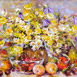 Autor: Zuzana LUKÁČOVÁ, Názov diela: Letné zátišie, Technika: akryl, Motív: zátišie, Rozmery: 50x70 cm, Rok: 2019