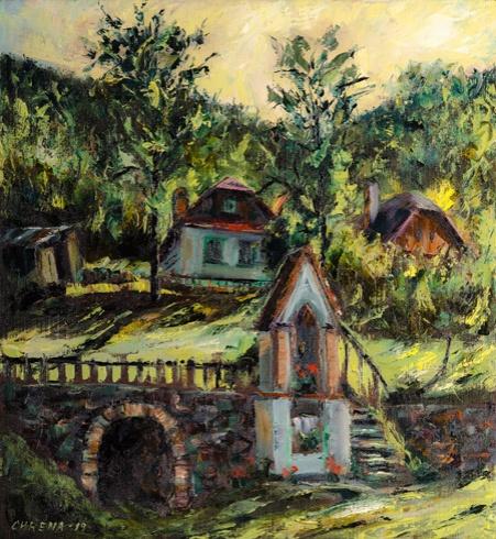 Jozef  CHRENA - Banská Štiavnica - Náckov dom (2019), Technika: olejomaľba, Rozmery: 60x55 cm