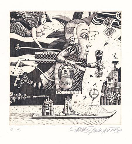Dušan POLAKOVIČ, Akademický maliar - Ex Libris I. Jamrich (2010), Technika: lept, Rozmery: 15x14,5 cm