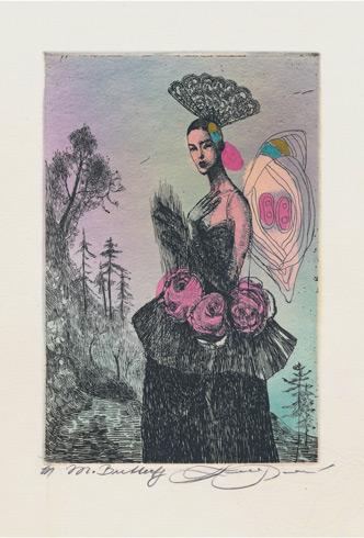Katarína VAVROVÁ, Akademická maliarka - Madam Butterfly (2019), Technique: kolorovaný lept, Size: 15x10