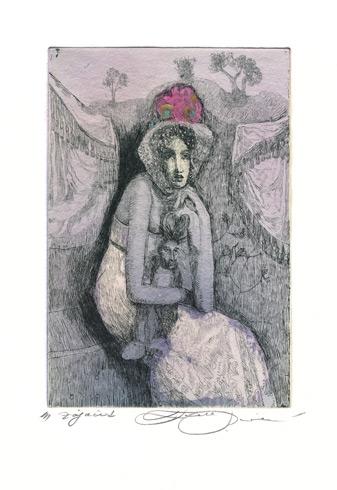 Katarína VAVROVÁ, Akademická maliarka - Zajačik (2019), Technika: kolorovaný lept, Rozmery: 15x10