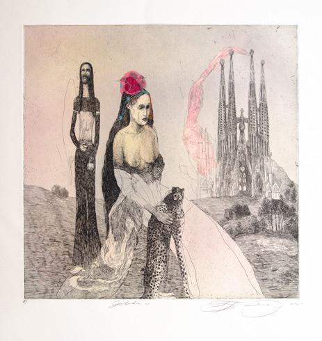 Katarína VAVROVÁ, Akademická maliarka - Gotika (2020), Technika: ručne kolorovaný lept, Rozmery: 30x30 cm