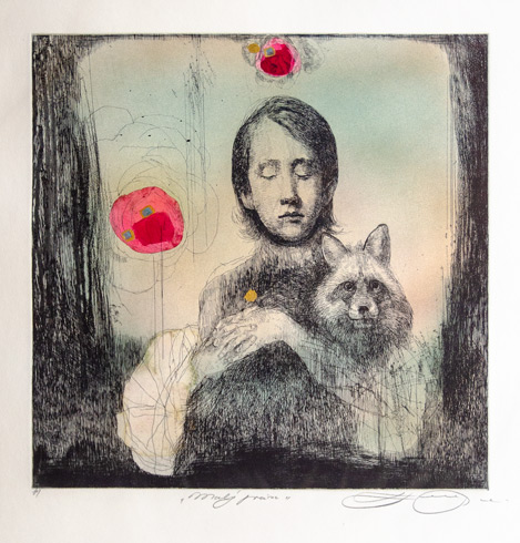 Katarína VAVROVÁ, Akademická maliarka - Malý princ (2020), Technika: ručne kolorovaný lept, Rozmery: 30x30 cm