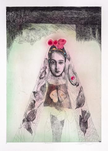 Katarína VAVROVÁ, Akademická maliarka - Marína (2020), Technique: ručne kolorovaný lept, Size: 70x49 cm