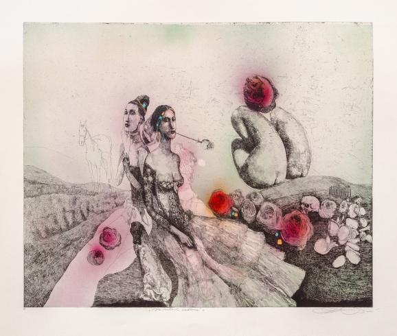 Katarína VAVROVÁ, Akademická maliarka - Na ružiach ustlané (2020), Technika: ručne kolorovaný lept, Rozmery: 49x59 cm