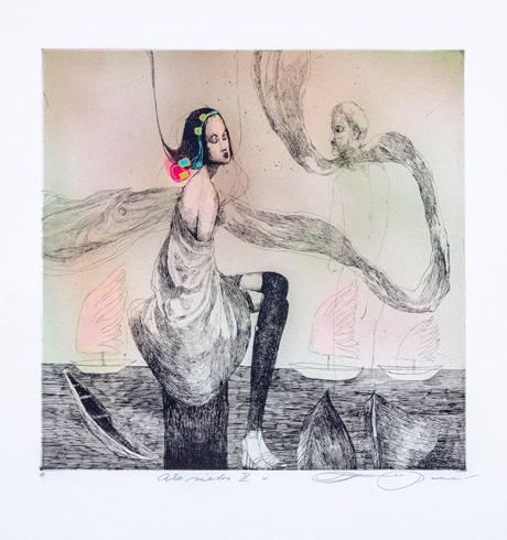 Katarína VAVROVÁ, Akademická maliarka - Ako vietor II (2020), Technique: ručne kolorovaný lept, Size: 29,5x29,5 cm