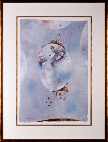 MgA. Martin AUGUSTÍN - Snívanie nebíčka  (2019), Technika: kombinácia maliarskych techník na ručnom papieri, Rozmery: 75x50 cm