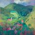 Autor: Miroslav  BUCHER, Názov diela: V doline, Technika: olejomaľba, Motív: krajina, architektúra, Rozmery: 80 x 70, Rok: 2020