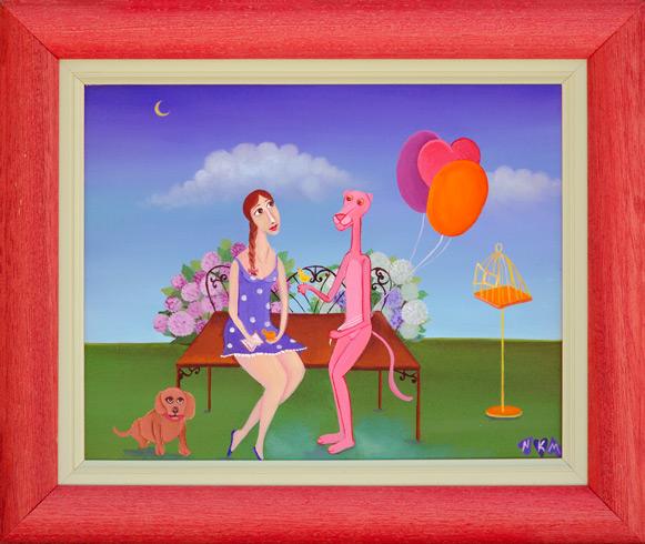 Nataša KŇJAZOVIC - Rande s Ružovým panterom (2019), Technique: olejomaľba, Size: 24 x 30