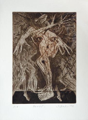 Igor PIAČKA, Akademický maliar - Pamäť (1992), Technique: kombinácia grafických techník, Size: 29 x 20,5