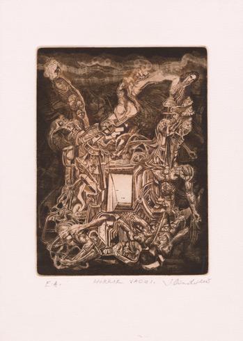 Igor PIAČKA, Akademický maliar - Horror vacui (2005), Technique: kombinácia grafických techník, Size: 19 x 14,5