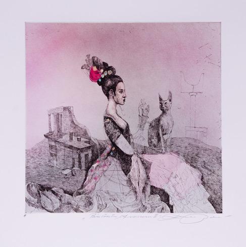Katarína VAVROVÁ, Akademická maliarka - Parížanka z Knossosu (2020), Technika: ručne kolorovaný lept, Rozmery: 29,5x29,5 cm