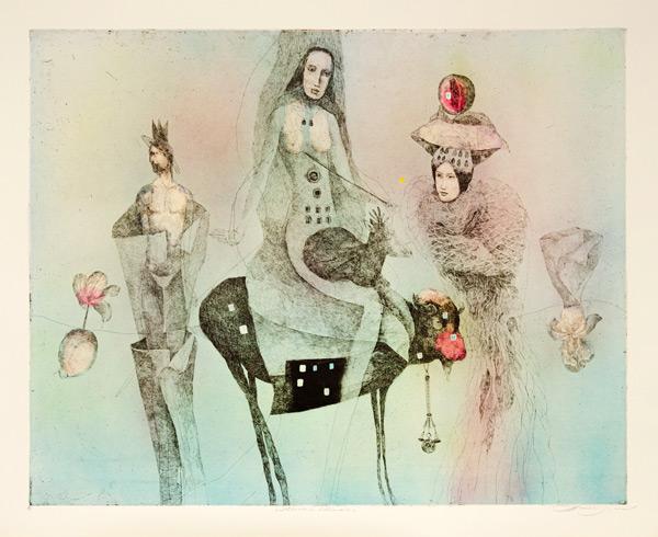 Katarína VAVROVÁ, Akademická maliarka - Hľadači šťastia (2020), Technika: ručne kolorovaný lept, Rozmery: 55x70 cm