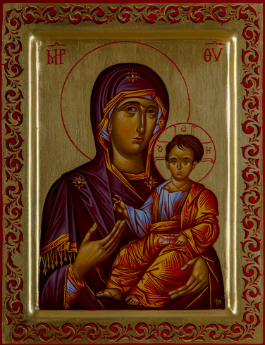 Ikony  Ivan PACALAJ - Ikona Hodegetria, Bohorodička s Kristom (2020), Technika: maľba na dreve, Rozmery: 30x23