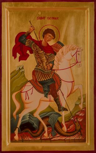 Ikony  Ivan PACALAJ - Sv. Juraj a drak (2020), Technique: maľba na dreve, Size: 31x21