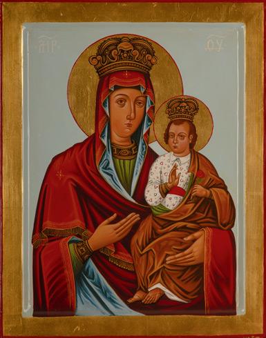 Ikony  Ivan PACALAJ - Ikona Hodegetria, Matka Božia s Kristom (2020), Technika: maľba na dreve, Rozmery: 38x30