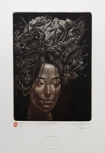Ak. maliar Peter KOCÁK - Silitude (2019), Technika: mezzotinta, Rozmery: 14,5x12