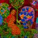 Autor: Daniela KRAJČOVÁ, Ak. maliarka, Názov diela: Koncert v lese, Technika: Podmaľba na skle, Motív: figurálne, akty, Rozmery: 33x45 cm, Rok: 2021