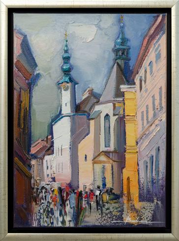 Mykola BODNÁR - Banská Štiavnica - Kostol sv. Kataríny a radnica (2021), Technika: olejomaľba, Rozmery: 42x30 cm