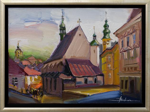Mykola BODNÁR - Banská Štiavnica - Kostol sv. Kataríny (2021), Technika: olejomaľba, Rozmery: 30x42 cm