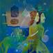 Autor: Mgr. art. Jana  Bialová, Názov diela: Putovanie, Technika: akryl na plátne, Motív: figurálne, akty, Rozmery: 40x30 cm, Rok: 2021