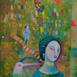 Autor: Mgr. art. Jana  Bialová, Názov diela: Šaty, Technika: akryl na plátne, Motív: figurálne, akty, Rozmery: 40x30 cm, Rok: 2020