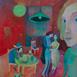 Autor: Mgr. art. Jana  Bialová, Názov diela: Dotyk v červenej izbe, Technika: akryl na sololite, Motív: figurálne, akty, Rozmery: 34x24 cm, Rok: 2019