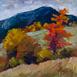 Autor: Zuzana BOBOVSKÁ, Názov diela: Jesenná čerešňa, Technika: akryl na sololite, Motív: krajina, architektúra, Rozmery: 24x24 cm, Rok: 2014