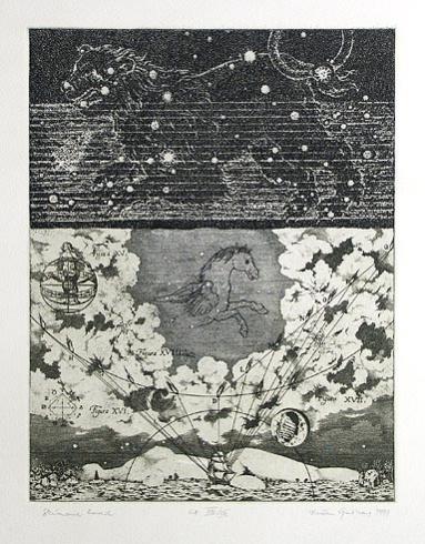 Dušan GREČNER, Akademický maliar - Skúmanie hviezd (1999), Technika: lept, Rozmery: 32x24 cm