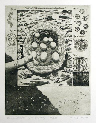 Dušan GREČNER, Akademický maliar - Skúmanie začiatku (1998), Technika: lept, Rozmery: 32x24,5 cm