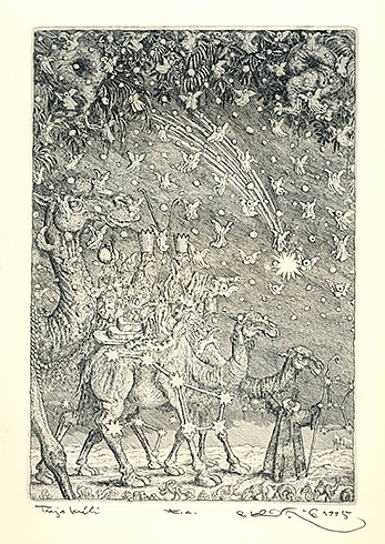Peter KĽÚČIK, Ak. maliar - Traja králi (1995), Technika: lept, Rozmery: 23x16 cm