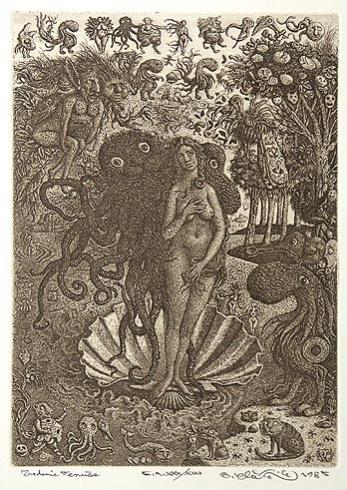 Peter KĽÚČIK, Ak. maliar - Zrodenie Venuše (1985), Technika: lept, Rozmery: 21x15 cm
